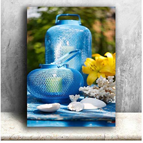 chthsx canvas kunst gele boeketten, met lantaarn, decoratie, muurschildering, verlicht schilderij gedrukt lentedecoratie batterij open -50x70cm geen lijst