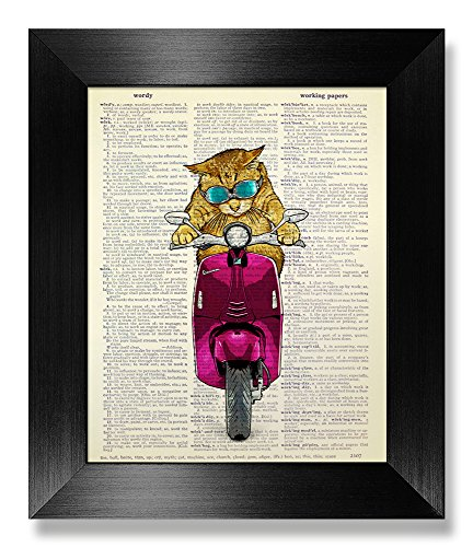 Cool Tabby Cat with Vespa Poster, Cat with Glasses, Cat Decor, Cat Art Print, Cat Poster, Cat Wall Art, Cat Wall Decor, Cat Print, Original Artwork, Dictionary Art Print, 8x10