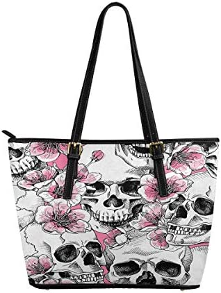 InterestPrint Top Handle Satchel HandBags Shoulder Bags Tote Bags Purse a Skull and With Flowers product image