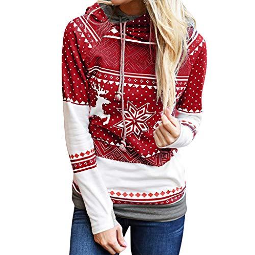 Casaul Kapuzenoberteile,Evansamp Weihnachtsdame Elk Snowflake Print Tops Kordelzug Kapuzenpulli Pullover Bluse(Red,L)