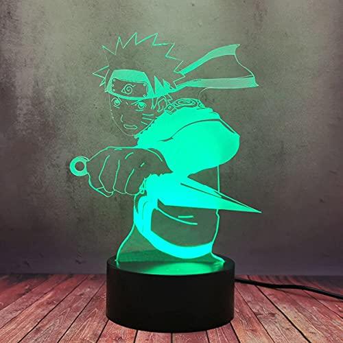 Cool Hero Uzumaki Naruto Lucha LED 3D noche lámpara de escritorio, novedad Japón Anime Figura USB Flash Light Cartoon Creative Decor Baby Sleep Gift Bulb Lava Xmas Festival Toy