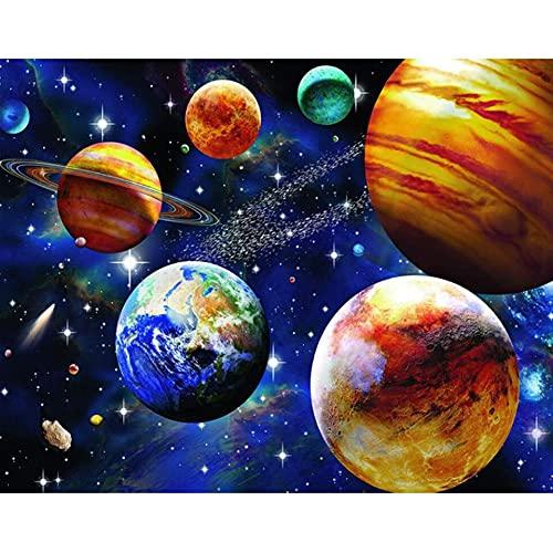 5D DIY diamante pintura paisaje espacio planeta espacio diamante bordado conjunto diamante mosaico imagen Mural A9 50x70cm