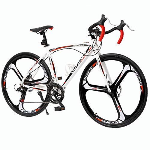 PanAme 26 Inches Road Bike Dual Disc Brake 700c High-Performence Wheels Commuter Bicycle, 14-Speed Drivetrain, Light Aluminum Frame, White