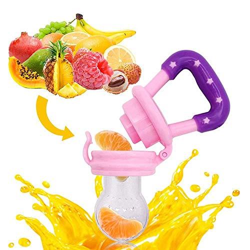 Baby Fruchtsauger Schnuller – Yisscen Frischkost Schnuller mit 3 verschiedenen Größen Silikon Schätzchen Schnuller Ersatz (S, M, L) – Baby Zahnen Nibbler Beißring Schnuller für Obst und Gemüse (Rosa) - 4