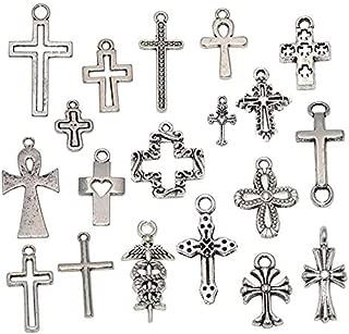 Yansanido 100 Gram Assorted Cross Silver DIY Antique Charms Pendant Mixed Charms Pendants Necklace Bracelet Wedding DIY Craft Making Accessory (100g Cross Silver)