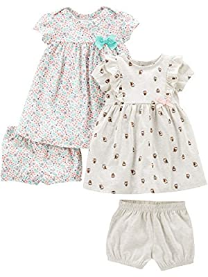 Simple Joys by Carter's Girls' 2-Pack Short-Sleeve and Sleeveless Dress Sets, Floral/Gray Bird, 12 Months