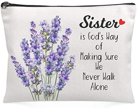 Cosmetic Bags for Women Sister is God s Way of Making Sure We never walk alone Stash Box Funny product image