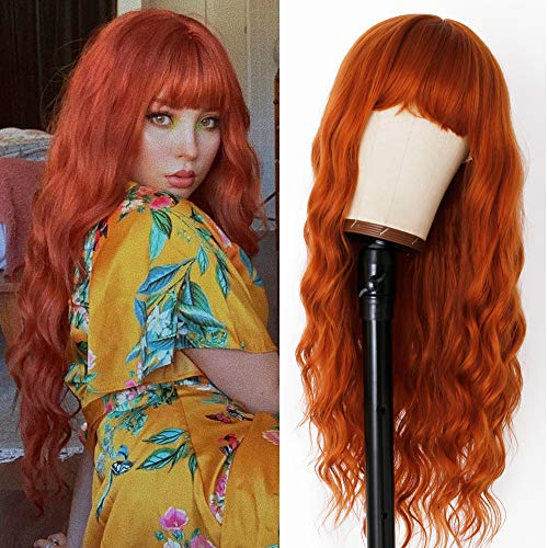 EVLYNN Orange Wave Wigs With Air Bangs Heat Resistant Synthetic Fiber Hair 24 Inch Long Curly Brown Glueless Wig Full Machine None Lace Front Wig