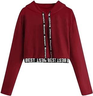 Crop Hoodies for Teen Girls, Womens Letter Print Splice Cute Sweatshirts Cool Camouflage Stripe Pullover Coat