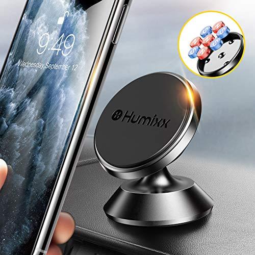 Humixx Universal Handyhalterung Auto Magnet [8-Magnet-Upgrade], 2 Metallplatte Magnetische Handyhalter fürs Auto, 360° Drehbar Armaturenbrett Kfz Handy Halterung mit iPhone iPad Samsung Huawei usw