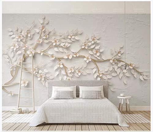 Apoart 3D behang originele gouden pruik wit bloemen 3D reliëf tv achtergrond muur 350cmx245cm