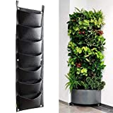 7 Pockets Vertical Wall Planter, Wall Hanging Garden Fence Planters...