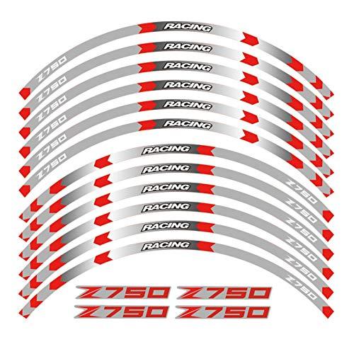 Motocicleta 17 Pulgadas Rueda de la Rueda calcomanía Reflectante Pegatinas Llantas para Kawasaki Z750 Z 750 (Color : B Red)