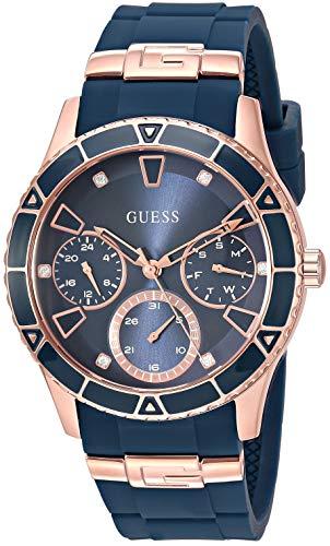 Relógio Guess dourado rosa + icônico azul resistente a manchas de silicone com dia, data + 24 horas militar/tempo internacional. Cor: azul (modelo: U1157L3)