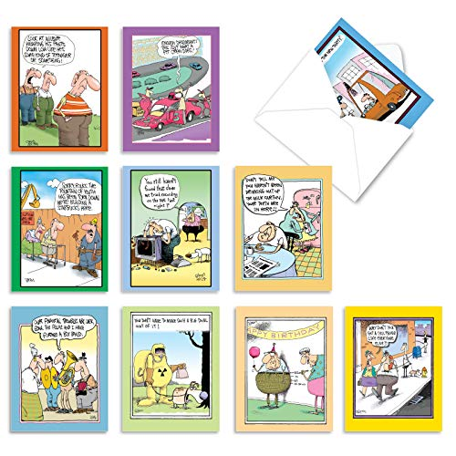 The Best Card Company - 10 Funny Blank Cartoon Cards with Envelopes (4 x 5.12 Inch) - All Occasion Comic Assortment - McCoy Bros. Cutups M6617OCB