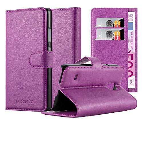 Cadorabo Hülle für Samsung Galaxy S5 Mini / S5 Mini DUOS in Mangan VIOLETT - Handyhülle mit Magnetverschluss, Standfunktion & Kartenfach - Hülle Cover Schutzhülle Etui Tasche Book Klapp Style