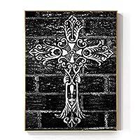 抽象イエスクロスキャンバス絵画ゴシックポスター印刷用リビングルーム寝室ユニーククリスチャン装飾壁アート/ 50x65cm-いいえフレーム