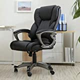 Ergonomic Desk Chair Task Rolling Swivel Modern High Back PU Leather Computer Chair with Lumbar...