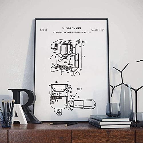 MG global - Póster de pared para cafetera espresso con patente - Arte de pared de cocina, decoración de café, regalos para amantes del café, sin marco
