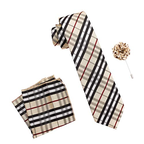 Axlon Men's Micro Polyester Checkered Necktie Set with Pocket Square and Lapel Pin (Brown , Free Size)