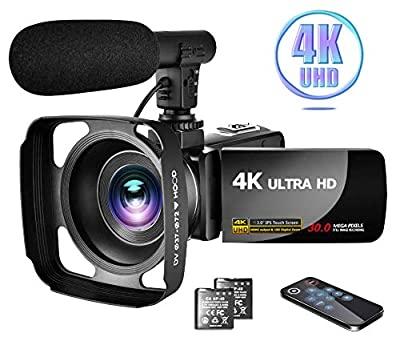 "4K Video Camera Camcorder with Microphone Vlogging Camera YouTube Camera Recorder Ultra HD 30MP 3.0"" IPS Touch Screen with Lens Hood & 2 Batteries by LINNSE"