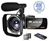 Camcorder 4K Video Camera with Microphone Vlogging Camera YouTube Camera Recorder Ultra HD 30MP 3.0' IPS Touch Screen with Lens Hood & 2 Batteries