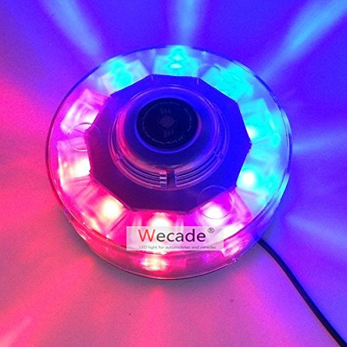 Wecade High Intensity 10 LED 30W Volunteer Firefighter Emergency Vehicle Magnetic Mount Strobe/Flash Beacon Warning Light (Red/Blue)