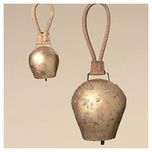 Boltze Campanaccio Mucca, campanaccio Capra, in Metallo, Effetto Oro Antico, con Cinghia Marrone, 1Pezzo, Dimensioni circa9cm x 6cm x 25cm
