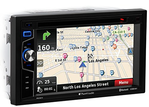 Planet Audio PNV9674 Car GPS Navigation and DVD Player - Double Din, Bluetooth Audio and Calling, 6.2 Inch LCD Touchscreen Monitor, MP3, CD, DVD, USB, SD, Aux-in, AM/FM Radio Receiver