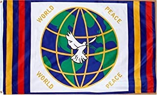 MWS 3x5 World Peace Globe Dove All Races Religions Super Polyester Nylon Flag 3`x5` House Banner 90cm x 150cm Grommets Double Stitched Premium Quality Indoor Outdoor Pole Pennant
