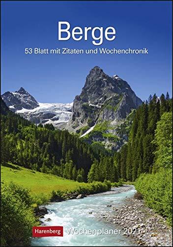 Berge Kalender 2021: Wochenplaner, 53 Blatt mit Zitaten und Wochenchronik