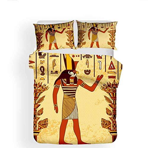 Earendel Fundas Nórdicas Serie Egipcia Juego De Ropa De Cama Pirámide Faraón Colcha 2/3/4PCS Fundas De Edredón Nórdico/Almohada/Sábanas,para Cama 90/135/150/180 (Cama 80/90(140×210cm)-3PCS,10)