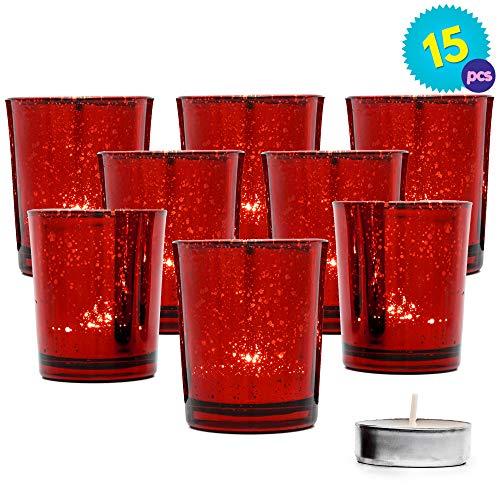 THE TWIDDLERS 15PCS Teelichthalter Rot | Votivglas Kerzenhalter Teelichthalter | Ideal Weihnachtstischdekorationen | Partys Hochzeiten Haus & Garten Romantisches Abendessen | Weihnachtsgeschenk