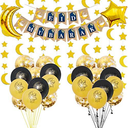 26 PCS Ramadan decoration, Included 24 Pack Balloons, 1 Pack Banner, 1Bunch Gold Glitter Moon Stars Garland Eid Mubarak for Home Decor