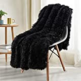 Noahas Shaggy Longfur Throw Blanket with Sherpa Warm Underside, Super Soft, Cozy Large Plush Fuzzy Faux Fur Blanket, Washable Couch or Bed Throws Christmas Decorative Gift Ideal 50x60, Black