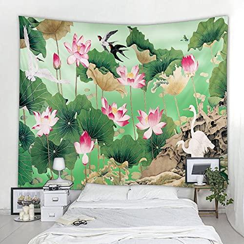 YHTUSE tapizHoja de Loto Tapiz de Loto Colgante de Pared Hippie pequeño Arte casero Fresco...