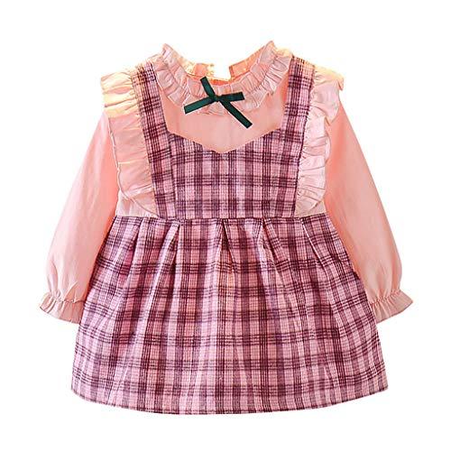 Janly Clearance Sale Vestido de niña para niñas de 0 a 10 años, vestido de princesa de manga larga, vestido de botones de color puro, rosa, 1 a 2 años