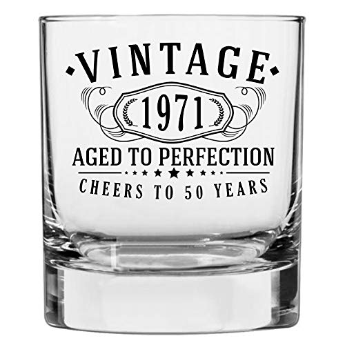 Vintage 1971 Printed 10.25oz Whiskey Glass | 50th Birthday Aged to Perfection | 50 years old gifts