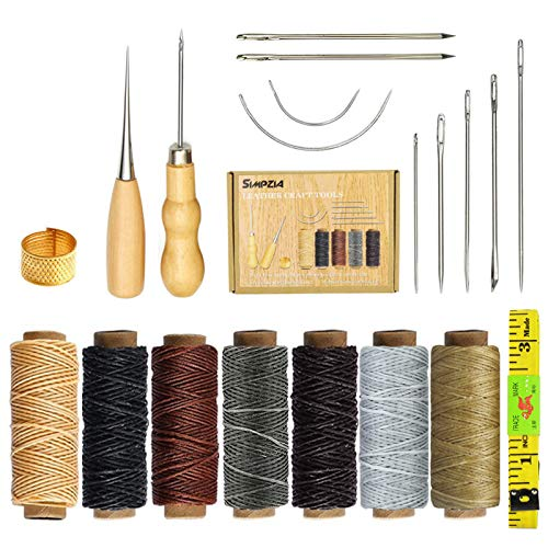 SIMPZIA 20 Pieces Leather Craft Tools with Hand Sewing Needles Drilling Awl Waxed Thread and Thimble for Leather Upholstery Carpet Canvas DIY Sewing