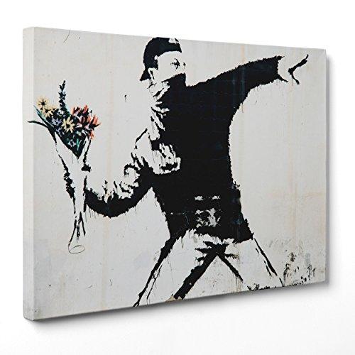 Cuadro sobre lienzo – enmarcado – listo para colgar – Banksy – Arte Street Art – Lanzador de flores – 30 x 40 cm – Sin marco – Código 1644