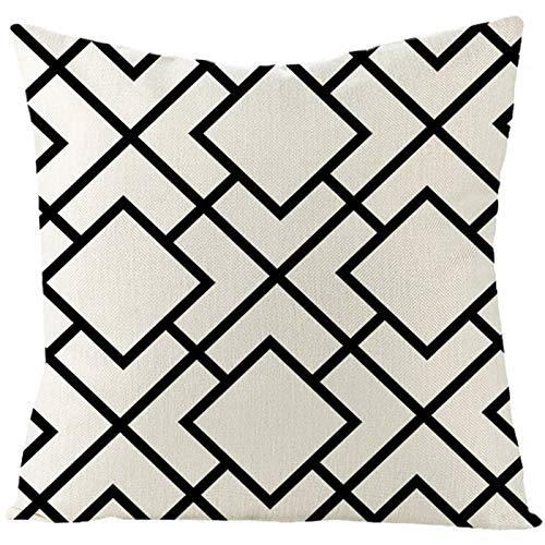 KnBoB Funda de Almohada Lino Negro Blanco Patrón Irregular 50 x 50 cm Estilo 13