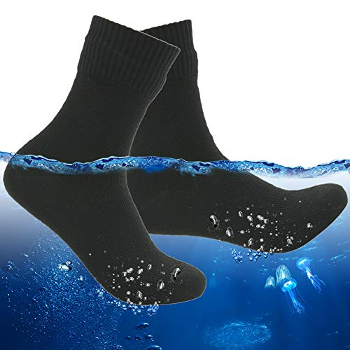 RANDY SUN Men's Waterproof Ankle Socks Nylon Soft Comfortable Hiking Thick Warm Winter Socks for Outdoor Activities 1 Pair (Black,Large)