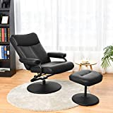 Giantex Massage Swivel Recliner Chair with Footrest Stool Ottoman, PVC Leather Lounge Armchair, 360 Degree Swivel Overstuffed Padded Seat Chair, Leather Recliner and Ottoman Set (Black)