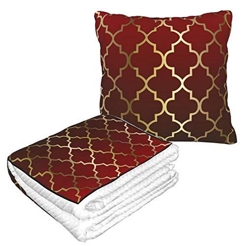 Manta de almohada de terciopelo suave 2 en 1 con bolsa suave de color rojo oscuro y marrón, funda de almohada de cuatro hojas doradas para casa, avión, coche, viajes, películas