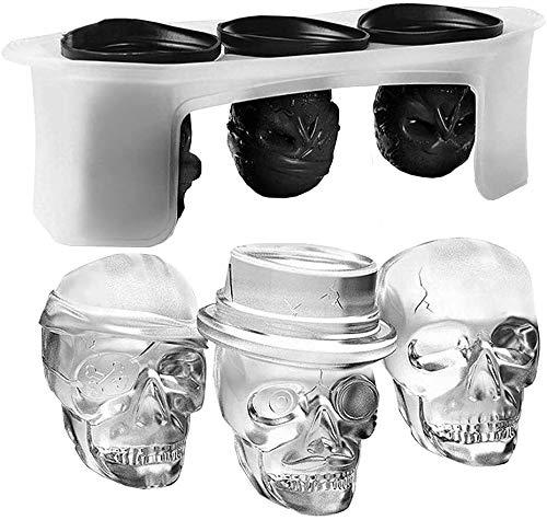 LBSX De Hielo del silicón 3D del cráneo del Molde Flexible Cubo de la Bandeja, Hace 3 cráneos de Gigante, Ronda del Cubo de Hielo Cafetera, Black-Pack de 1