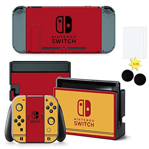 Glu Conjunto Completo de Pegatinas para Consola Joy-con Radiador de Nitendo Switch con 2 Protectores de Pantalla y 2 Tapas Protectoras