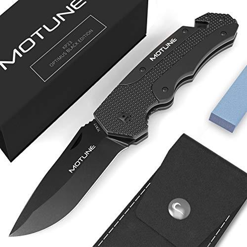MOTUNE® Zweihand Klappmesser 3-in-1 KP23 - Scharfes Taschenmesser mit Aluminiumgriff - Zweihandmesser mit hochwertiger Edelstahlklinge - Survival- und Outdoor-Messer mit Schleifstein & PU-Gürteltasche