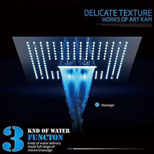 XSGDMN LED Festduschkopf, 15 in WiFi Verdeckte Duschköpfe Bluetooth Spray Festduschkopf mit Fernbedienung/Handysteuerung