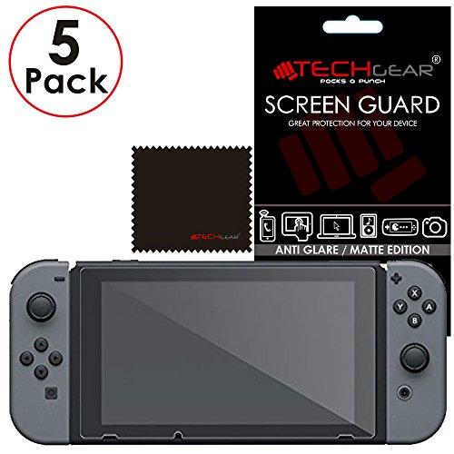 [5 piezas] TECHGEAR Protector de Pantalla Antirreflejo Compatible Con Nintendo Switch [Sin burbujas] [Resistente a los arañazos]