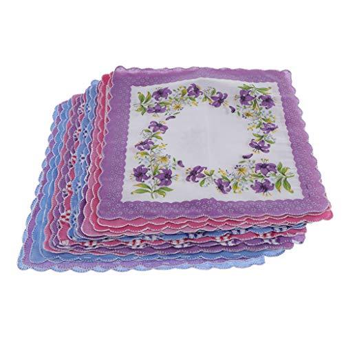 P Prettyia 15 Stück Damen Taschentücher, Blumen-Design Stofftaschentücher